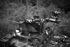 """Matilda II tanks with their own names, """"Glanton"""" and """"Gloucester"""" abandoned in the woods near Arras. 1940"""