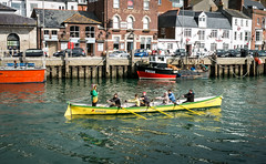 Saturday Morning, Weymouth (dorsetpeach) Tags: sea england boat harbour gig dorset rowing weymouth rower weymouthharbour oldharbour rowingboat thekingfisher rowinggig