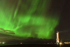 Girdle Ness Aurora (Brian D 1960) Tags: light sky lighthouse green nature night dark stars lights scotland nikon bright aberdeen aurora d750 northern ness borealis girdle