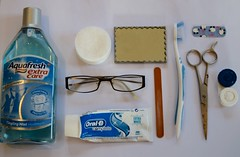 Bathroom objects (Lans.na) Tags: white mirror plaster clean scissors toothpaste contacts toothbrush mouthwash groups nailfile facewipes