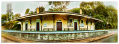 Olde-Toronto-station (Mel Gray) Tags: toronto building station wideangle fisheye newsouthwales 16mm lakemacquarie torontostation stitchedpano nikond300s