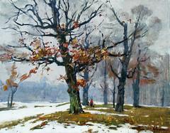 Snow melts. N57 36x46 (kirilko) Tags: trees snow painting spring ukraine pushchavodytsia volodymyrlyashchenko