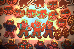 gingerbread production (salmonsalmon) Tags: cats kitchen baking bears gingerbread icing production posterized