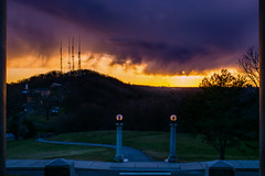 The Passing Rain (unsequestered) Tags: sunset orange tower lines rain yellow clouds radio nikon purple 28mm hill passing framing nikkor sureal leading ai f35 d3300