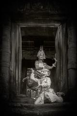 Khmer classical dancers (tmeallen) Tags: rain cambodia hanuman apsara angkorthom monkeygod classicaldance sheltering terraceoftheelephants traditionalattire khmerdancers femalespirit carvedstonedoorway flowerposition traditionalhandpositions leafposition