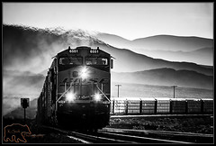 BNSF 6551 upgrade out of Ludlow (K-Szok-Photography) Tags: california railroad blackandwhite monochrome backlight canon desert trains socal transportation locomotive ge canondslr bnsf railroads mojavedesert desertmountains 50d canon50d deserttrains sbcusa trainsinaction