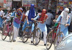 MATHURA: Girls trying to protect themselves from scorching heat in Mathura on Saturday. (legend_news) Tags: from girls india saturday trying heat protect scorching themselves mathura
