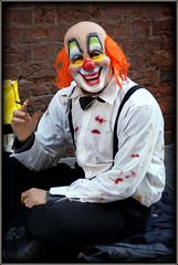 Portrait of the artist as a masked man (* RICHARD M) Tags: street liverpool portraits fun happy artist mask clown bald smiles happiness masks portraiture fancydress merseyside streetportraits capitalofculture streetportraiture europeancapitalofculture clownmask pavementartists