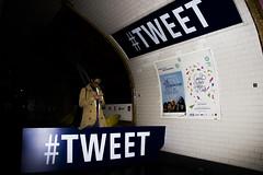 Envoie d'un Tlgraphe. (ROYEARS) Tags: street city people paris art canon underground subway eos 50mm waiting metro photos pics april wait m11 texting tweet t3i aprilfool tlgraphe 600d ligne11 twitter 1stapril 1eravril