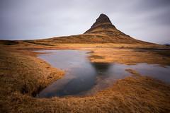Kirkjufell (sk_husky) Tags: longexposure sky bw mountain reflection water beautiful beauty grass clouds canon landscape iceland rocks outdoor dusk filter nd serene kirkjufell neutraldensity