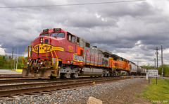 "Westbound Transfer in Kansas City, MO (""Righteous"" Grant G.) Tags: santa city west train power trains missouri kansas locomotive local fe transfer ge freight bnsf westbound kcs atsf warbonnet"