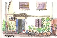 Urbansketch: Mt. Emily backlane (Thainlin Tay) Tags: art pen pencil watercolor painting singapore drawing sketching backlane urbansketch