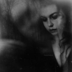 Nothing leaves me...[www.madalinabarna.com] (Madalina Barna) Tags: trees portrait blackandwhite woman selfportrait black art love girl monochrome dark mono artwork noir remember shadows darkness fineart memories longhair smoking multipleexposure fade longing