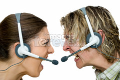 Call Centre Wars (the UMF) Tags: people white color male men horizontal female women adult image longhair anger headset communication business indoors whitebackground backgrounds studioshot concept frustration screaming blondehair sideview youngadult twopeople isolated telecommunication shouting 20s callcentre caucasian twoobjects brownhair youngwomen youngmen 2025years humanhead plainbackground isolatedonwhite