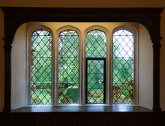 The Tudor Window (Steve Taylor (Photography)) Tags: wood uk greatbritain light england brown black green window glass lines metal architecture garden kent topiary sill unitedkingdom diamond gb bexley hallplace leadedlights leadlights