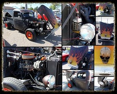 """""""Jack Daniels"""" 1948 Ford Pickup Collage (WillynWV) Tags: orange black art ford 1948 car collage truck skull evening spring automobile day flames wheels sunny pickup vehicle custom jackdaniels guesthouse moundsvillecruiserscarclub gotowv"""