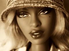 Sepia close-up (Deejay Bafaroy) Tags: portrait hat fashion closeup sepia toys doll barbie portrt hut blond blonde makeda adele fr royalty puppe bombshell integrity
