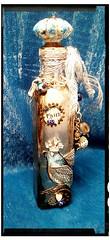 Metallic Altered Art Bottle (Jazzie Menagerie) Tags: wings bluebird rhinestones glassbottle alcoholink jazziemenagerie metalliclookglasspaint drawerknobtoppers birdybottle