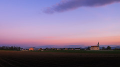 Sunset in a countryside (Dejan Hudoletnjak) Tags: sunset church landscape golden colorful country purplesky