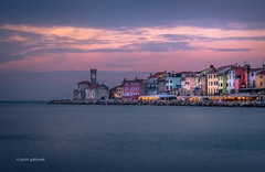 Piran Sunset (pietkagab) Tags: trip travel sunset church photography evening europe waterfront pentax sightseeing adventure slovenia promenade piran k5 istria primorska pentaxk5ii pietkagab piotrgaborek