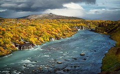 Hraunfossar autumn (loveexploring) Tags: longexposure autumn cloud fall river landscape lava waterfall iceland falls shrub hraunfossar hvita autumncolour westiceland