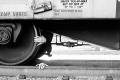 Untitled Train (jonathanerickguzman) Tags: bw train hands contemporary traintracks surreal creepy conceptual