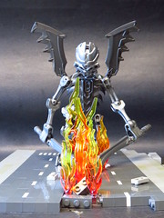 Playing with fire (monsterbrick) Tags: skeleton fire lego hell hellish demon bionicle moc