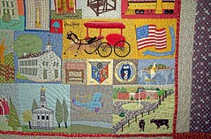 Madison's Bicentennial Quilt detail (Madison Historical Society) Tags: usa history museum photo costume interesting nikon flickr quilt shot image connecticut interior country shoreline picture newengland ct indoor madison historical inside antiques mhs conn d600 abhouse nikond600 madisonhistoricalsociety madisonhistory bobgundersen allisbushnellhouse