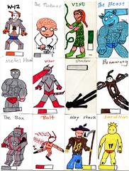 Superhero Trading Cards (Diamond Lyman) Tags: comics children comic child dessin superhero superheroes enfant kinderkunst tradingcards kidsdrawings