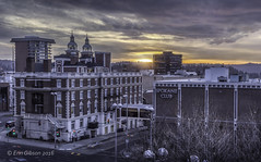 Spokane Club (giberin) Tags: city trees roof winter sunset shadow sky sun sunlight streets cold color texture rooftop church colors skyline architecture clouds washington spokane shoot cityscape sundown northwest pacificnorthwest coldweather hdr