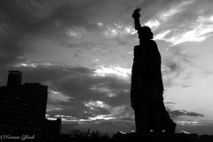Lady Liberty (Norman Effendi) Tags: travel blackandwhite bw silhouette japan liberty tokyo odaiba bnw ladyliberty libertystatue blackandwhitephotopgraphy