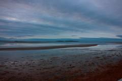 Hilbre Island at dusk (cathbooton) Tags: sea sky reflection beach clouds canon island sundown dusk bluehour wirral hilbreisland