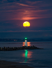 Lighthouse Moon (mistyhillranch) Tags: ocean california longexposure moon lighthouse beach night coast nighttime coastal moonlight