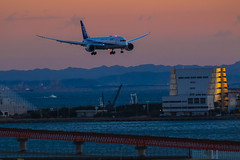 ANA Boeing 787-9 on final approach to RJTT RWY 34L (yinlei) Tags: sunset ana landing boeing haneda rjtt 7879