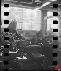 Machine Shop, Fermilab (Mark Kaletka) Tags: camera blackandwhite bw tlr film shop vintage machine machinery research physics fermilab yashica twinlensreflex ilfosol3 kentmere100