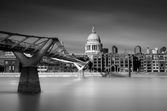 St Paul's Cathedral (Mar and mar) Tags: longexposure bridge sky urban blackandwhite bw building london church water thames architecture canon river mono cathedral millenniumbridge stpaulscathedral ndfilter 16stopsfilter
