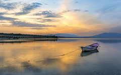 A boat (Nejdet Duzen) Tags: trip travel sunset lake reflection turkey boat fishing turkiye sandal gol yansma turkei seyahat manisa balklk gunbatm salihli golmarmara