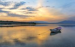 A boat (Nejdet Duzen) Tags: trip travel sunset lake reflection turkey boat fishing turkiye sandal gol yansıma turkei seyahat manisa balıkçılık gunbatımı salihli golmarmara