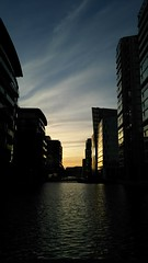 Folds (Jamie Barras) Tags: uk blue sunset england sky building london silhouette century evening canal office dusk 21st block february waterway 2016