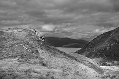 Mallaig Bheag and the view across Loch Nevis to Moydart (Scotty H..) Tags: uk greatbritain blackandwhite bw mountains monochrome rural landscape scotland blackwhite highlands scenery view scenic scottish peaceful highland british peninsula picturesque rugged knoydart lochaber mallaig 2014 westhighlands sealoch westernhighlands lochnevis mallaigbheag
