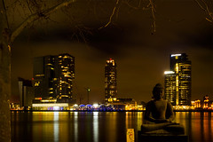 View from the Willemskade waterfront, Rotterdam. 001 (George Ino) Tags: longexposure nightphotography copyright holland netherlands rotterdam waterfront nightscape nightshot kade nederland kopvanzuid hotelnewyork erasmusbrug wilhelminakade nieuwemaas buddhastatue boeddha katendrecht citynightscape availablelightphotography nightcityscape denieuwemaas georgeino georgeinohotmailcom