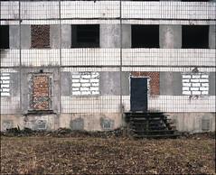 Piekary lskie, Poland. (wojszyca) Tags: windows urban building abandoned 120 mamiya wall architecture mediumformat kodak decay shift epson 6x7 ektachrome gossen rz67 75mm 4990 e100g lunaprosbc