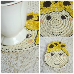 sunflower girl Collage (MonikaDesign) Tags: handmade crochet sunflower happyface homedecor tabledecor kitchendecor crochetdoll crochetart crochetcoasters monikadesign