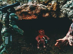 """""""Did it look anything like a... squirrel?"""" (shefner77) Tags: world family summer scale nature strange rock wonder fun lost toys outdoors starwars war play place little machine scene camo ewok adventure entertainment fantasy actionfigures planet scifi imagination cave sciencefiction fatherandson quest marvel universe makebelieve hasbro 118 chewbaca endor battalion munitions 375 334"""