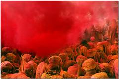 a study in 'scarlet' (Soumya Bandyopadhyay) Tags: red colors festival wide holi barsana mathura vrindavan uttarpradesh canoneos5d canon24105mmlis brajholi lathmarholi