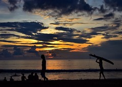 Sunse in Bali (katjakarumoholm) Tags: sunset sky people bali beach water silhouette clouds indonesia surfboard kuta