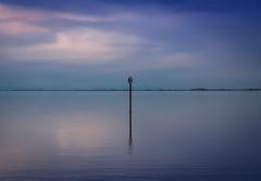 Twilight on Crescent Beach (Repp1) Tags: ocean blue sea mer canada reflection clouds bc symmetry bleu crescentbeach nuages symtrie rflexion