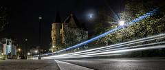 Modern Nosferatu uses fast cars (Mara Castillejo) Tags: street longexposure brussels castle night belgium vampire nosferatu bruxelles ambulance chateau nuit castillo longuepose portedehal hallepoort maracastillejo