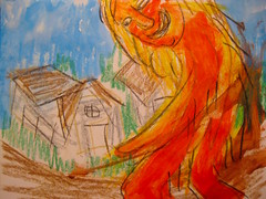 Beast Of Tupelo (giveawayboy) Tags: art mystery painting giant tampa sketch paint artist acrylic drawing beast imagination crayon creature imaginary tupelo fch giveawayboy wildman billrogers beastoftupelo