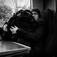 Someone Might Want to Sit Down (Lee Winder) Tags: travel england blackandwhite woman female train bag square unitedkingdom luggage commute gb solihull 0721fromleamingtonspa
